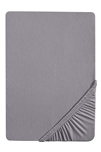 biberna 0077144 Stretch Feinjersey-Spannbetttuch (Matratzenhöhe max. 22 cm) 180x200 cm -> 200x200cm, silber/grau