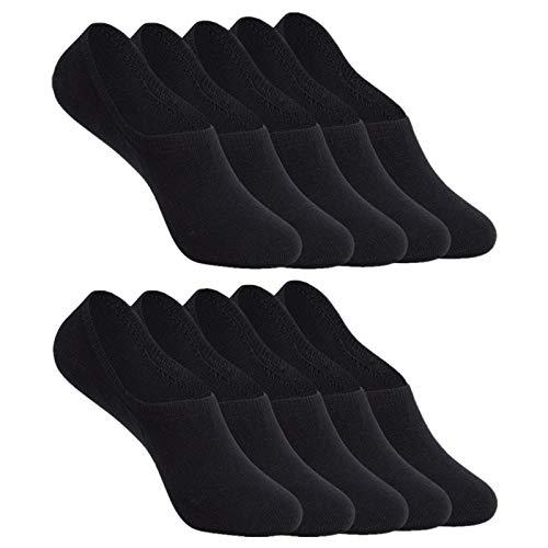 YOUCHAN Calcetines Mujer Hombre 10 Pares Tobilleros Invisibles Antideslizante Algodon Silicona Calcetines Verano-Negro-39-42