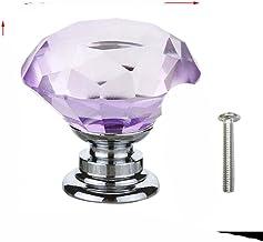 20 30 40mm Diamond Shape Design Crystal Glass Knoppen Kast Lade Pull Keukenkast Deur Garderobe Handvatten met Schroef-Paars