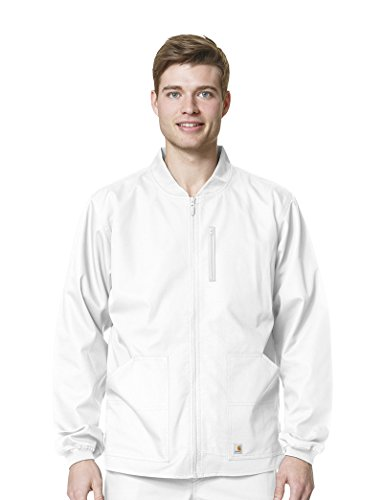 Carhartt Men's Ripstop Zip Front Jacket, White, Large