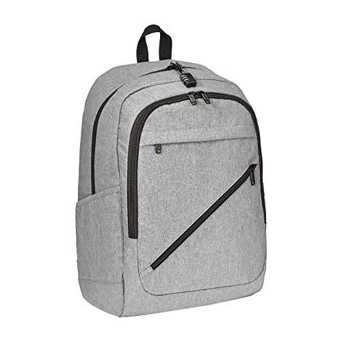 AmazonBasics – Wasserabweisender Rucksack mit Diebstahlschutz für Laptops bis 43 cm, grau