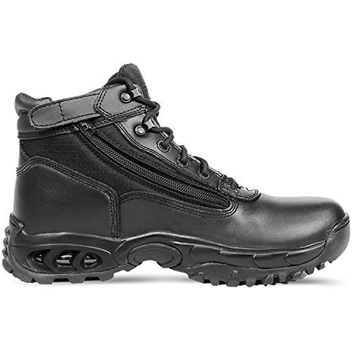 """Ridge Footwear Men's Tactical Steel Toe Work Boots Air-Tac 6"""" with Zipper - Oil & Slip Resistant Black Leather Boots"""