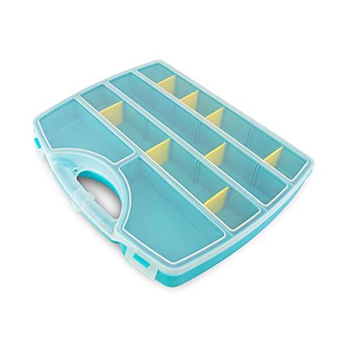 Maletín organizador, Caja de Almacenamiento Transparente Caja Compartimentos de Plástico con Separadores Ajustables( Tornillos, Hilos, Materiales de coser,...)(Azul)