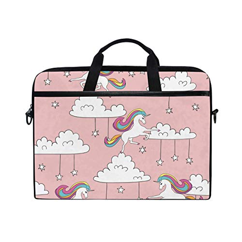 Laptop Sleeve Case,Laptop Bag,Pink Unicorn Horse Clouds Stars Pattern Water Briefcase Messenger Notebook Computer Bag with Shoulder Strap Handle,28.5×38 CM/14 Inch