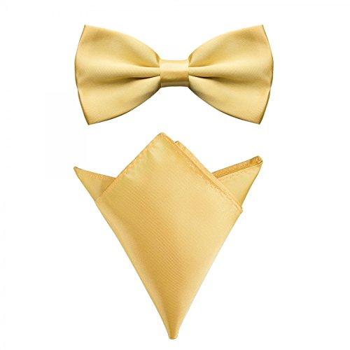 Rusty Bob - Fliege mit Einstecktuch in verschiedenen Farben (bis 48 cm Halsumfang) - zur Konfirmation, zum Anzug, zum Smoking - im 2er-Set - Limon-Gelb