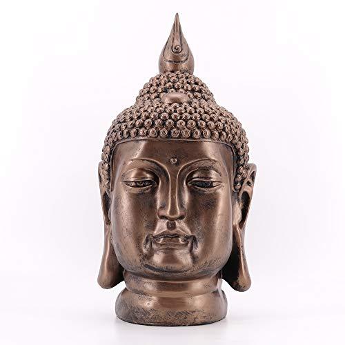 dasmöbelwerk Große Dekofigur Buddha Kopf Skulptur Gartenfigur S082 Antik Kupfer