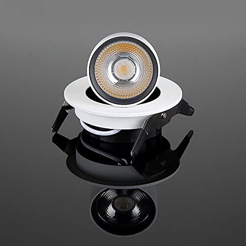 Siet Foco de Techo Interior LED 360 ° Accesorio de iluminación empotrable Ajustable, 10W Techo de Aluminio Blanco Techo Downlight, Montaje Enjuague los focos direccionales para la galería Cocina