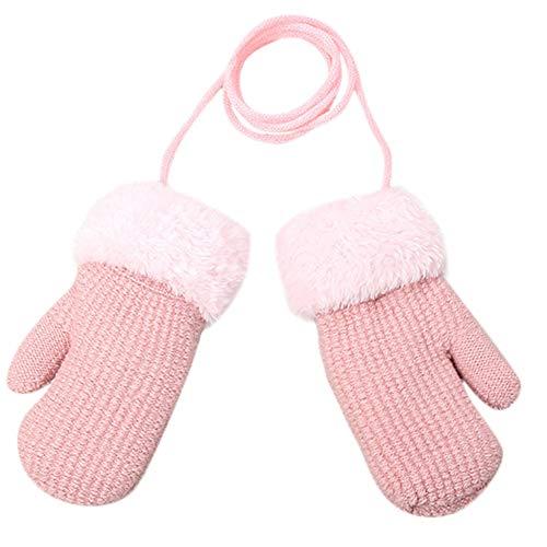 QWERGLL Winter Fäustlinge Baby Jungen Mädchen Strickhandschuhe Warme Seil Vollfinger Fäustlinge Handschuhe für Kinder zum Aufhängen Hals Handschuhe Einheitsgröße Bg