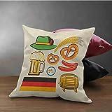 Fodera per cuscino quadrato tedesco Simboli dell'Oktoberfest Salsiccia di grano Birra e salatini Disposizione bavarese colorata Stampa su entrambi i lati Fodera per cuscino quadrato con stampa Protezi
