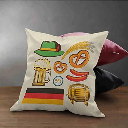 Funda de almohada cuadrada alemana Símbolos de la Oktoberfest Salchicha de trigo Cerveza y pretzels Arreglos bávaros coloridos Protector de funda de almohada cuadrada con estampado de ambos lados Mult