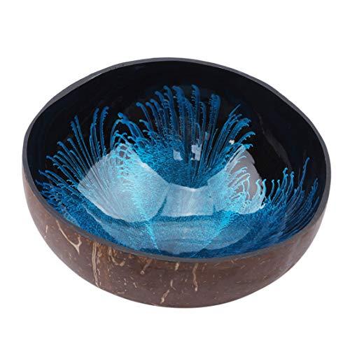 Idiytip Idiyitip Décoratif Bol De Noix De Coco Naturel Shell Bol Plats Mosaïque À La Main Cuisine Peinture Artisanat Maison Décorer, Bleu