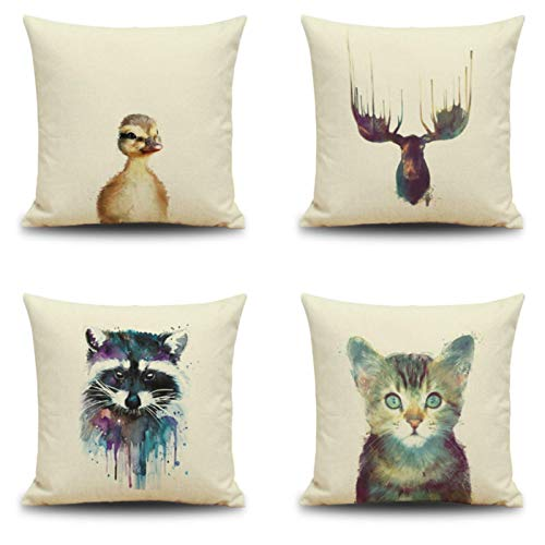 JgZATOA Watercolor Cat Cushion Cover Living Room Sofa Pillow Cases Bed Pillow Case Office Cushion 45 X 45Cm Set Of 4