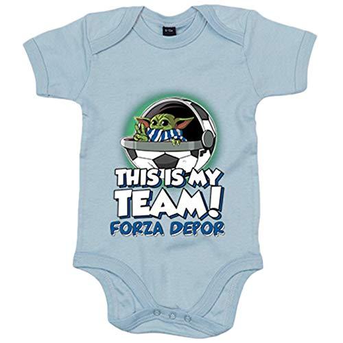 Body bebé parodia baby Yoda mi equipo de fútbol Forza Depor - Celeste, 12-18 meses