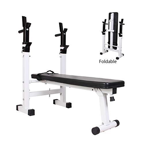 Hantelbank Klapptisch Gewicht Hantelablage for Gewichtheben Bett Falzen Haushalt Squat Rack Dumbbell Bench Crunches (Color : Weiß, Size : 110 * 29.5 * 190cm)