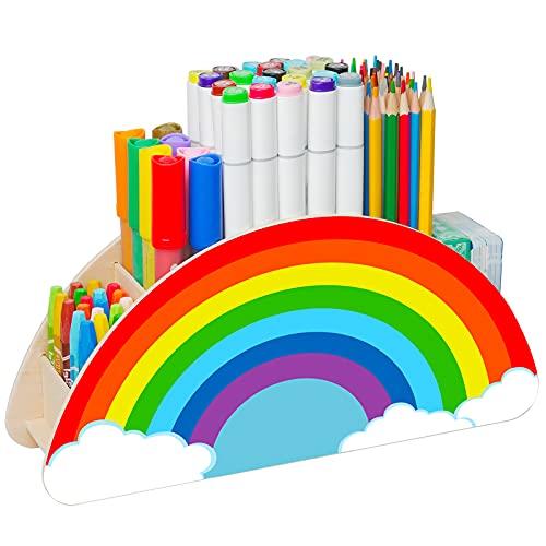 Wooden Pen Holder Pencil Holder, Rainbow Decor Desk Organizer and Storage for School Home Office, Rainbow Caddy Supply Classroom Organization for Kid, Art Supplies Phone Makeup Brush Holder for Women