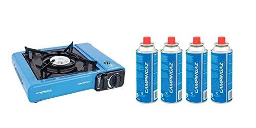 Camp Bistro 2 Campingaz con 4 cartuchos CP250, hornillo de gas portátil para camping y fiestas