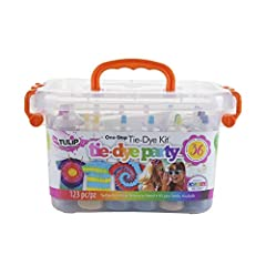 Kit includes a reusable plastic storage bin stocked with enough tie-dye supplies to create up to 36 projects Features 18 easy-squeeze bottles of highly-concentrated nontoxic One-Step dyes in 14 popular colors – just add water to activate No need to p...