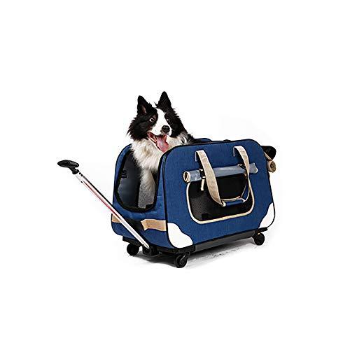 XLY Huisdier Carrier met Afneembare Wielen, Honden Katten Opvouwbare Huisdier Reistas Rolling Carrier met Mesh Ventilatie, Inbegrepen Tether, Telescopische Handgreep, Opbergtas