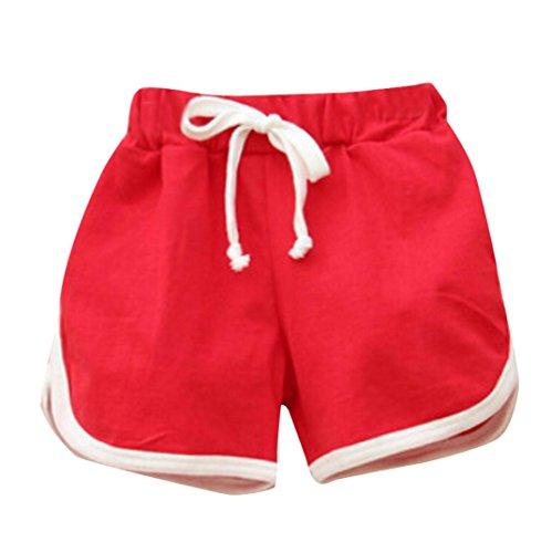 Kinder Shorts FORH Mädchen Jungen Candy Sommer Strand Hosen Pumphose Shorts Casual Elastische Kurze Hosen Mode Sommerhose Badeshorts Sporthosen Sommerkleidung (Rot, 140)