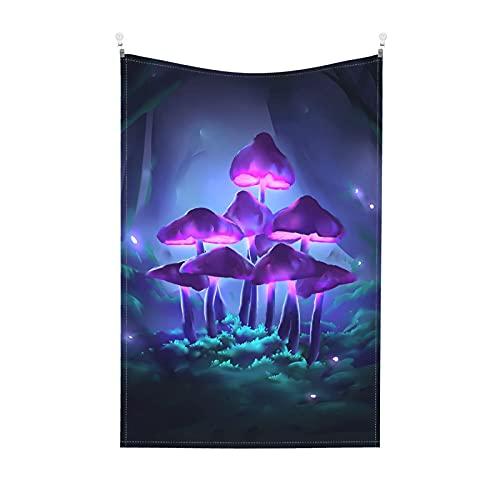 Tapiz psicodélico de hongos fantasía planta tapiz de pared selva brillante hermosa noche fantasía tapiz colgante de pared para habitación de la casa de 156 x 100 pulgadas