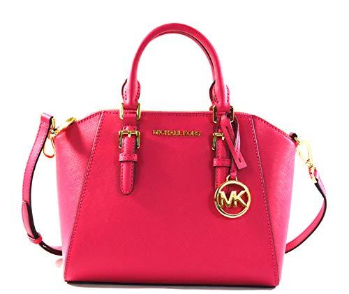 Michael Kors Ciara Medium Saffiano Leather Messenger Crossbody Bag Purse Handbag (Electric Pink)