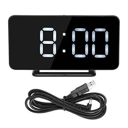 Candeon Reloj Despertador: hogar, Escritorio, LED, Pantalla de Tiempo, Reloj con Espejo, Reloj Despertador electrónico Digital (Marco Negro)