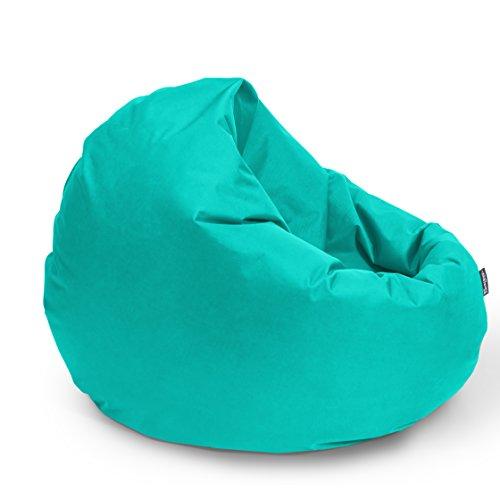 BuBiBag Sitzsack 2-in-1 Funktionen mit Füllung Sitzkissen Bodenkissen Kissen Sessel BeanBag (125cm Durchmesser, türkis)