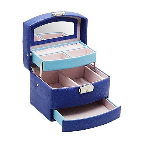 Preisvergleich Produktbild Hojkl Schmuck Aufbewahrungsbox 3 Tier Schmuck-Box Schmuck-Organizer und Aufbewahrungskoffer Tabletts mit Spiegel for Ringe Ohrring (Color : Blue,  Size : 16X12.5X12CM)