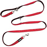Yangbaga Correa para Perros Multiposición, Correa Perro adiestramiento Nylon Correa Doble, 4 Longitudes para Perro Pequeño Perro Mediano y Perro Grande 224cm Rojo