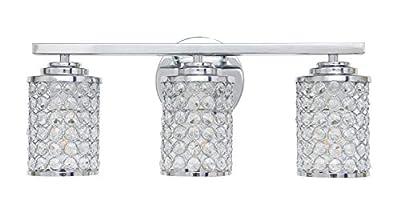 Homenovo Lighting 3-Light Crystal Bathroom Vanity Light Fixture, Polished Chrome