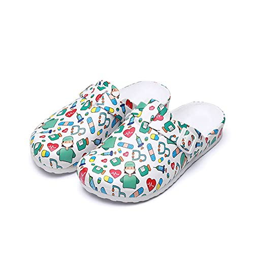 N/U Zapatos de seguridad para mujer, de EVA, con puntera, suela suave, antideslizante, resistente al desgaste, creativos, con patrón de protección bloqueado, color, talla 41 EU