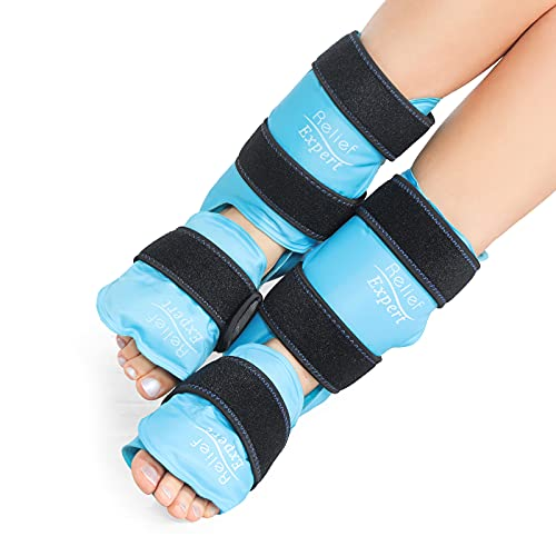 Relief Expert Ankle Foot Ice Pack Wrap for Injuries Reusable Gel Cold Pack with Cold Compression Therapy, Instant Pain Relief for Achilles Tendonitis, Plantar Fasciitis, Heel - Soft Plush (2 Packs)