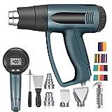 Vogvigo 2000 W Pistola de calor con Pantalla LED, 50-650 °C Soldadora de plástico de temperatura ajustable 300/500 L/min Ajustables con 4 boquillas, 1 núcleo de calentamiento