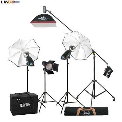 Britek#1760SKB Photography Studio Lighting Kit 1760w Flash Light with Strobe Light +Linco#8308new 8308 Compact Light Stand+Studio Boom stand,+ High Reflecting White Photo Umbrella,+Softbox+Barndoor+Carrying Case+Reflector+Strobe Light+Carrying Bag for 4068(#308)