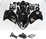 9FastMoto Fairings for suzuki 08-16 GSXR 1300 Hayabusa 2008-2016 GSX-R 1300 Motorcycle Fairing Kit ABS Injection Set Sportbike Cowls Panels (Black & Silver)