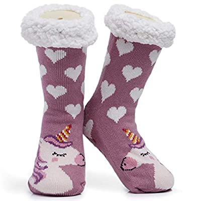 CityComfort Calcetines para mujer y niña, tallas 4 a 8, diseño de búhos y gatos, antideslizante Talla única (Rosa Oscuro Unicornio)