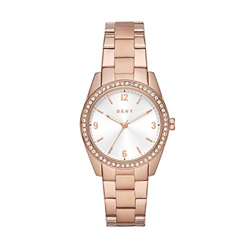 DKNY Women's Nolita Quartz Stainless Steel Three-Hand Watch, Color: Rose Gold Glitz (Model: NY2902)