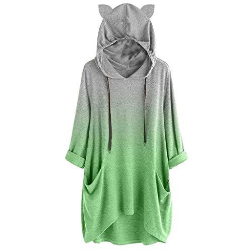 iHENGH Damen Frauen langes Hülsen Steigungs Farben Katzen Ohr mit Kapuze Sweatshirt Pullover TopBlouse(Grün, M)