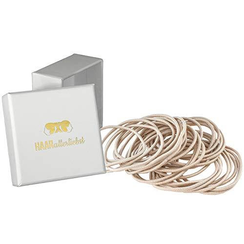 HAARallerliebst Haargummis dünn (30 Stück | hell beige | 1,5mm dick) für blonde Haare inkl. Schachtel zur Aufbewahrung (Schachtelfarbe: weiss)