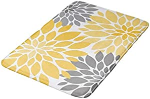 """POSholder (2pack) Bath Mat Absorbent Super Cozy Bathroom Rug (16"""" W x 24"""" L) Plush Bathroom Decor Mat with Non Slip Backing Indoor Rugs Yellow and Gray Chrysanthemums Floral Pattern Shower mat"""