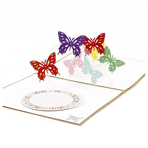 tellaLuna Butterfly Dances 3D up Greeting Card Postcard Matching Envelope -Cut Handmade Happy New Year Birthday Post Card Spring Festival Valentine's Day Gift(Pack of 1)