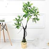 no brand Llzpl Nordique Plante Artificielle Riche Mangrove bonsaï décoration d'intérieur Vert Artificiel Faux Plante Artificielle bonsaï Arbre 1.2 m avec Pot