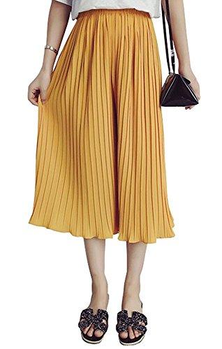 Esta.east Frauen Hose hohe Taille Chiffon plissiert weites Bein Hosen Culottes Size M (Yellow)