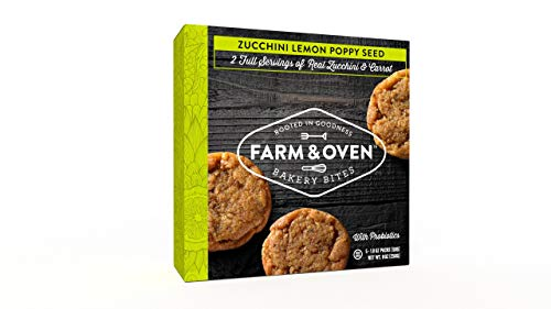 Farm & Oven Zucchini Lemon Poppy Seed Bakery Bites - 5 Pack. Zucchini Lemon Poppy Seed mini-muffins. 8 Servings of Veggies. Delicious. Yummy. Healthy. 40% of Your Daily Veggies. High Fiber. 1 Box.