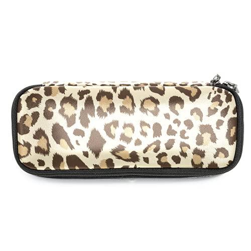 Estuche de piel con estampado de leopardo, con doble cremallera, bolsa de almacenamiento para niños y niñas