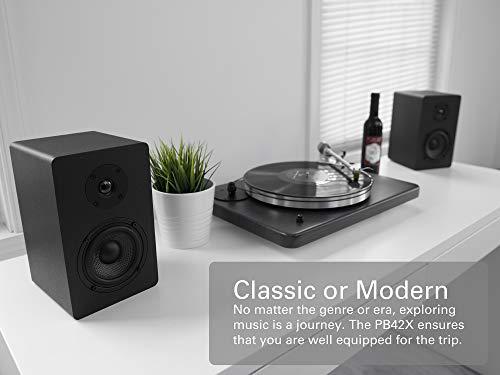 Micca PB42X Powered Bookshelf Speakers, 30-Watt RMS Power, Active Near Field Studio Monitors, 2-Way (Black, Pair)