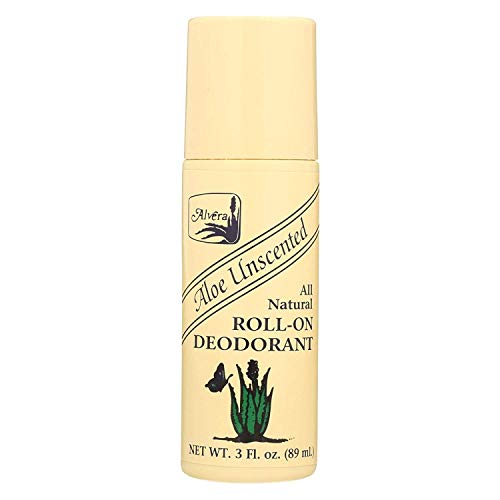 Alvera All Natural Roll-On Deodorant, Aloe Unscented, 3 oz, Pack of 3