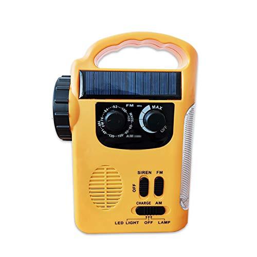 Sdesign Radio de Emergencia Multifuncional con Solar y manivela, Radio FM/Am con Linterna LED Linterna para el hogar, Camping y Supervivencia (Color : Yellow)