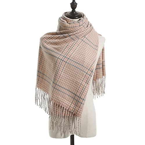 FJZAD Autumn and Winter Scarf Women Tassel Imitation Cashmere Scarf Retro Simple Plaid Warm Shawl (Color : 1)