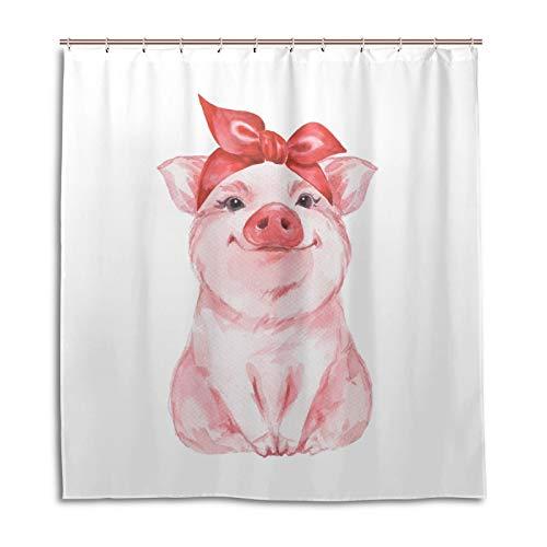 BKEOY Duschvorhang Tier Schwein Badvorhang Wasserdicht Schimmelfest Waschbar Polyester Stoff Vorhang 167x182cm mit 12 Vorhanghaken
